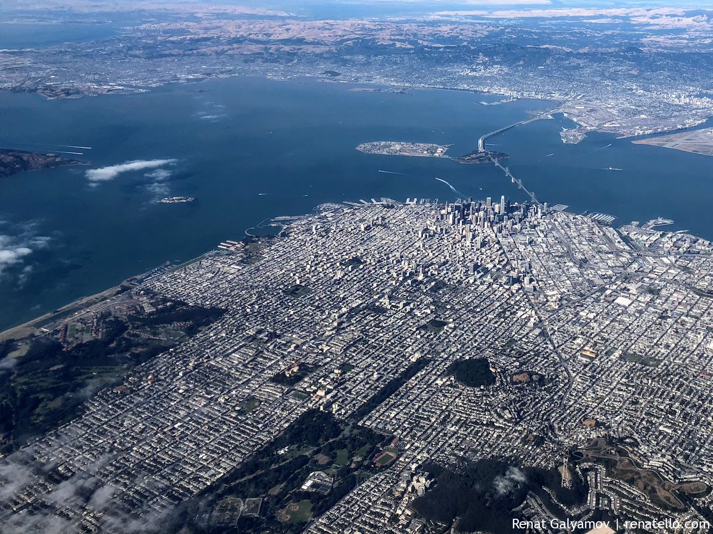 San Francisco downtown from plane