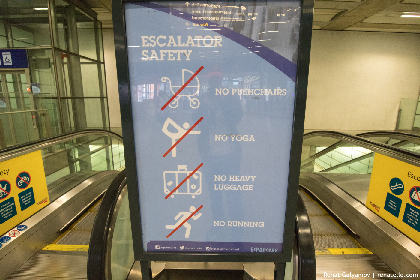 No yoga on the escalator sign.