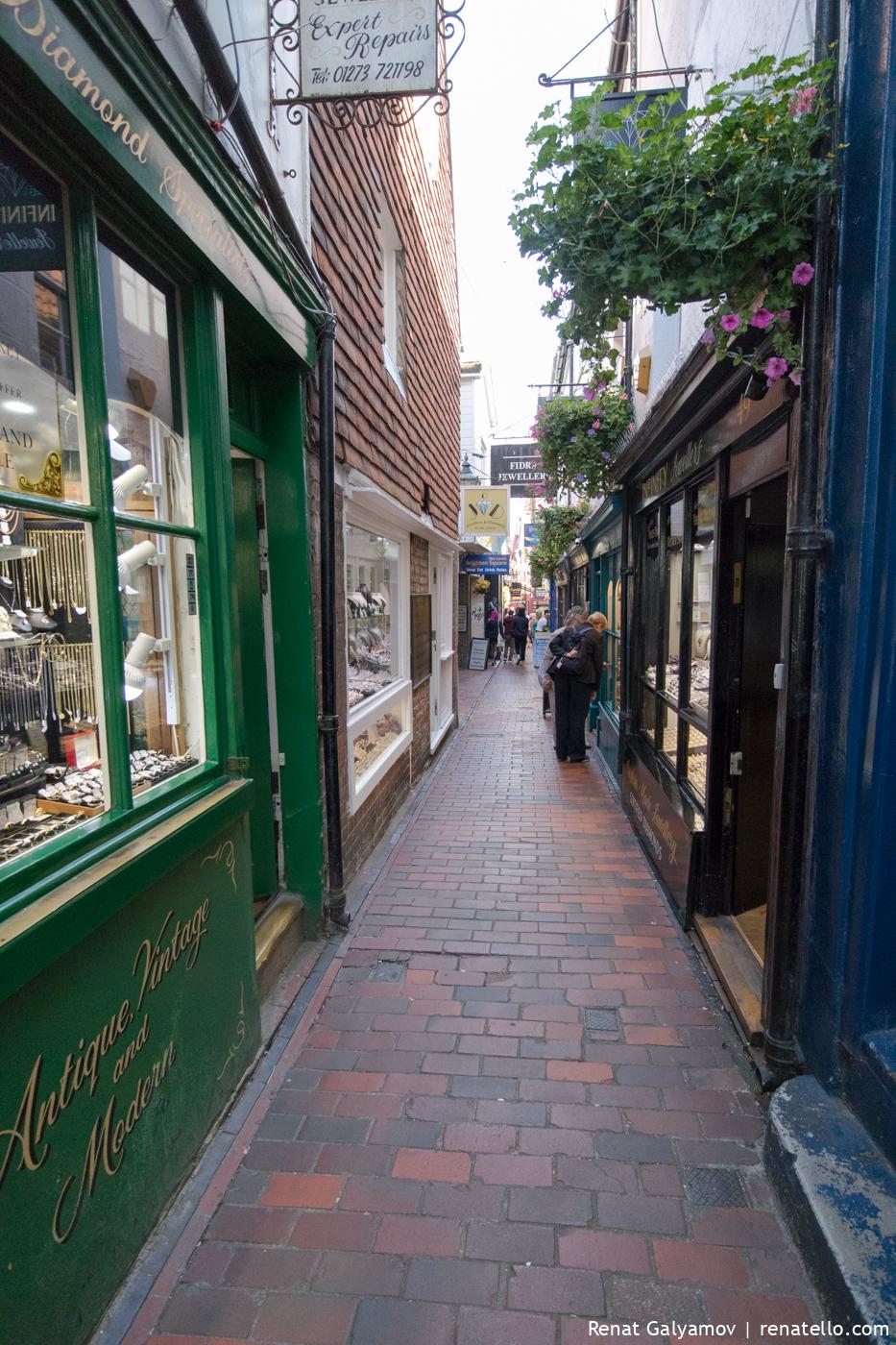 Narrow street in The Lanes, Brighton