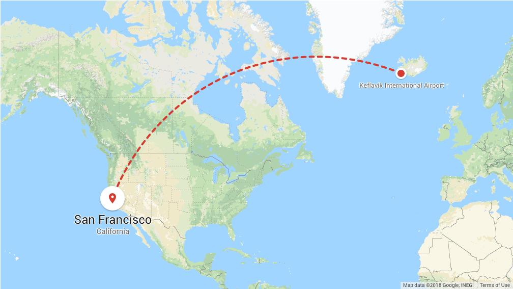 Keflavík International Airport, Iceland to San Francisco, SFO
