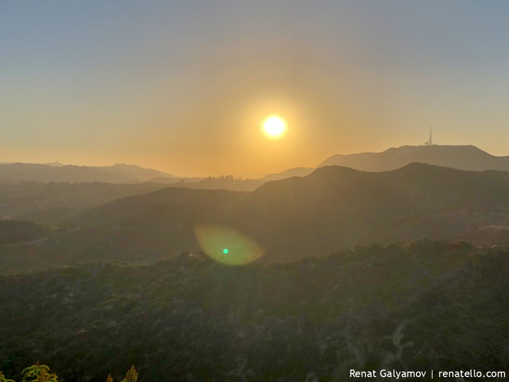 Hollywood hills sunset from Griffith Observatory
