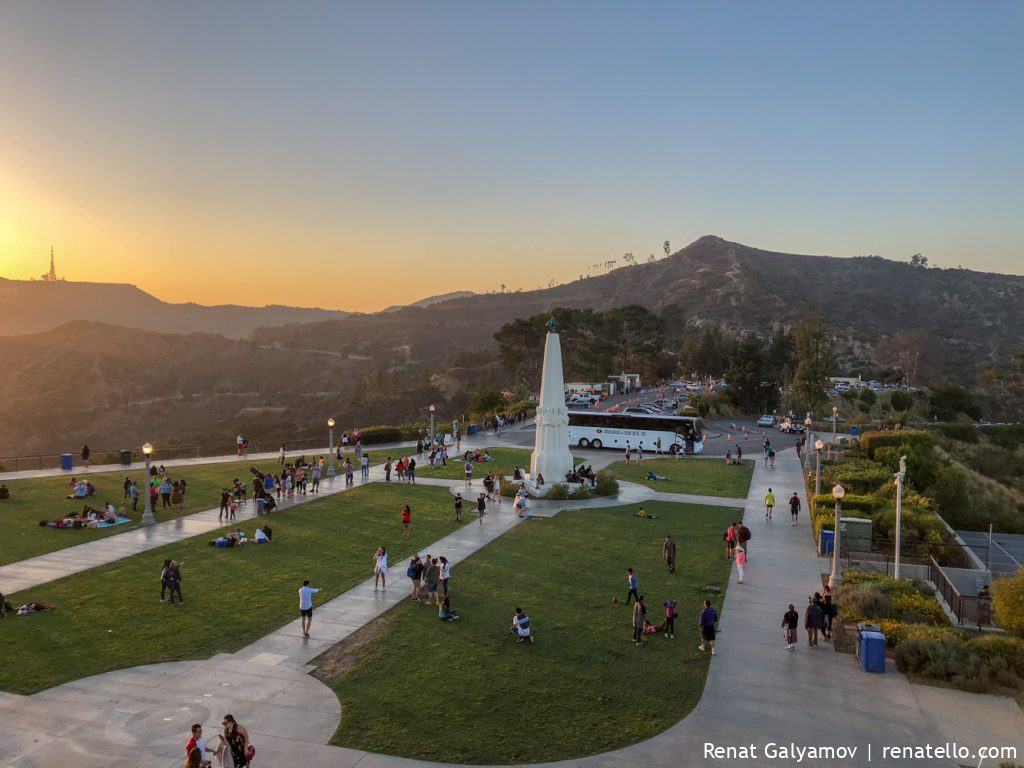 Griffith Observatory sunset back garden