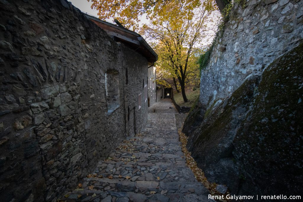 Old roads in Château de Valère, Valère Basilica, Valère castle in Sion, Switzerland