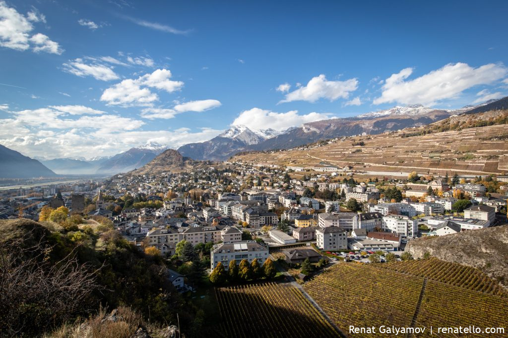 Warm and sunny day in a beautiful Sion, Switzerland