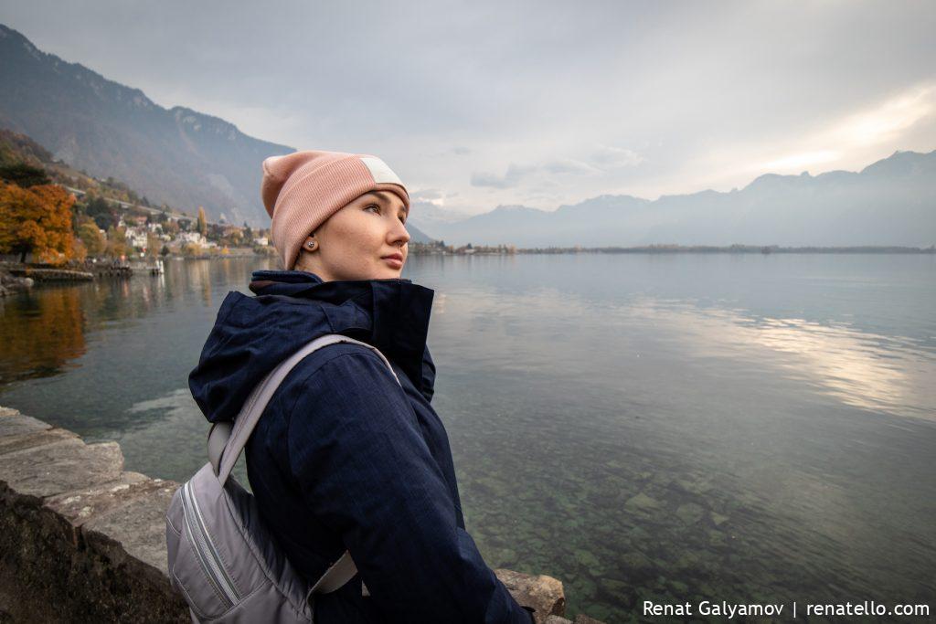 Lake Geneva and Amina from Montreux.