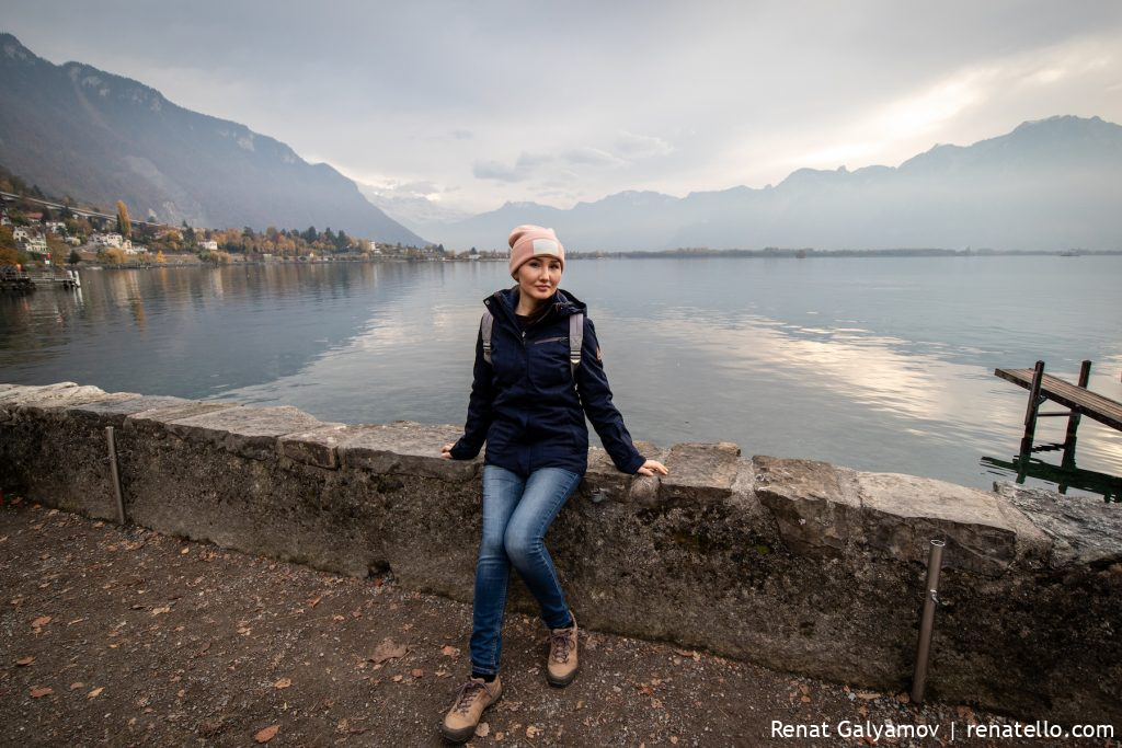Lake Geneva and Amina from Montreux.