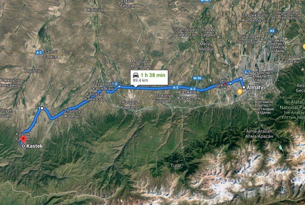Almaty - Kastek map, navigation