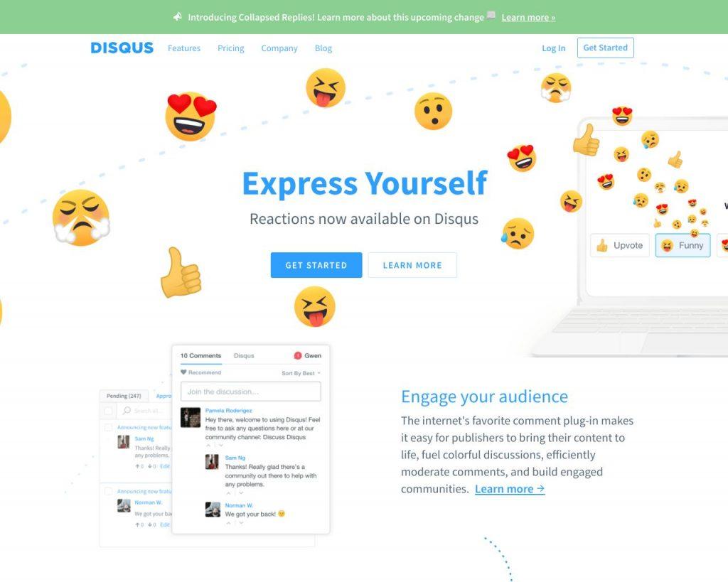 Disqus.com homepage screenshot