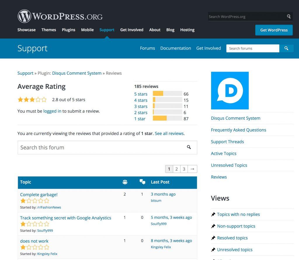 Disqus comments WordPress plugin